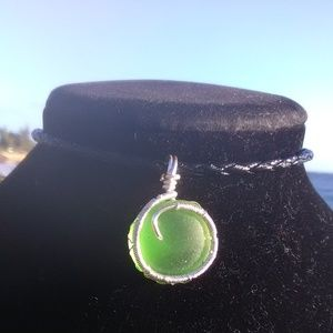 Silver Wrapped Green Sea Glass Bl Leather Necklace